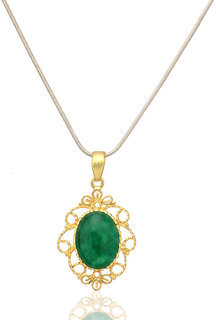 Tejaswani Gold plated Princess Pendant brushed finish with Green Onyx gemstone in 925 sterling silver