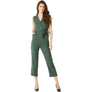 Miss Chase Green Flick Your Hair Collar Jumpsuit