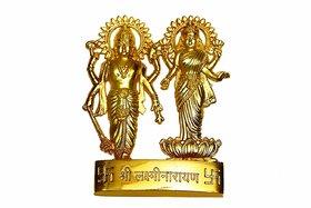 Gold Plated Vishnu Laxmi Idol - 7 cms