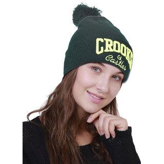 DRUNKEN Unisex Winter Cap Woolen Beanie Cap with Pom Pom Green Freesize Warm Cap