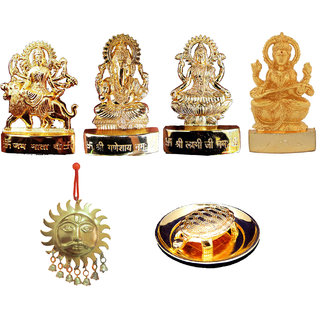 Gold Plated Ganesh Laxmi Durga Saraswati with Surya and Turtle plate for Shubh Vastu