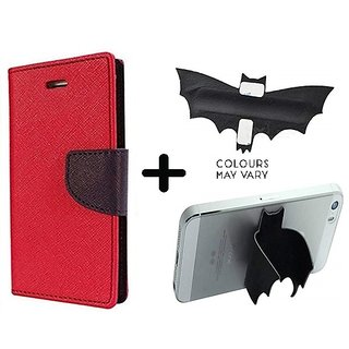 Motorola Moto G4 Play  Cover / Wallet flip for  Moto G4 Play  ( RED ) With Batman Design Mobile Holder & Phone Grip