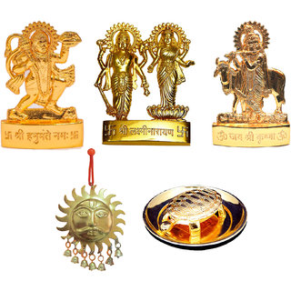 Gold Plated Gold Idols of Hanuman Vishnu Laxmi Cow Krishna with Shubh Vastu Surya and Turtle Plate - Combo