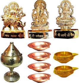 GOld PLated Ganesh Laxmi Durga with Akhand Diya + 6 Copper Diyas and 2 Brass Kuber Diyas