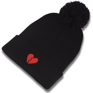 DRUNKEN Mens Winter Cap Woolen Beanie Cap with Pom Pom Black Freesize Warm Cap