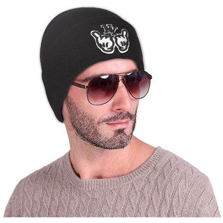 DRUNKEN Mens Winter Cap Woolen NY Plain Beanie Cap Black Freesize Warm Cap