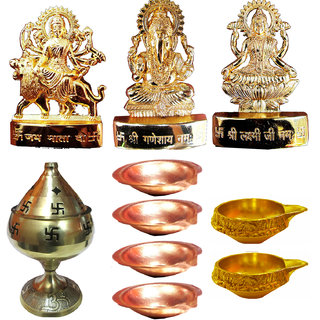 GOld PLated Ganesh Laxmi Durga with Akhand Diya + 6 Copper Diyas and 2 Brass Kuber Diyas