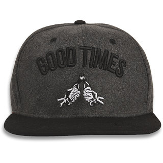DRUNKEN Mens Winter Cap Good Times Fleece Snapback Hip Hop Cap Dark Grey Freesize Warm Cap
