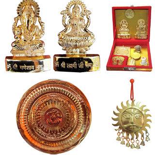 Combo of Ganesh Laxmi with Dhanvarsh Yantra, Pooja thali (Copper) with Surya shubh Vastu