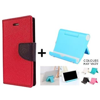 Reliance Lyf Flame 4  Cover / Wallet flip for Lyf Flame 4  ( RED ) With Multi Angle Mobile Phone Stand