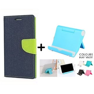 Reliance Lyf Water 5  Cover / Wallet flip for Lyf Water 5  ( BLUE ) With Multi Angle Mobile Phone Stand