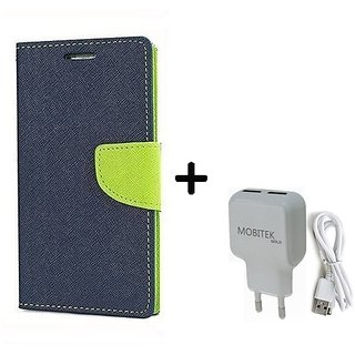 Lenovo A1000  Cover / Wallet flip for Lenovo A1000  ( BLUE ) With Fast Charger 2.4 AMP Safe Charger