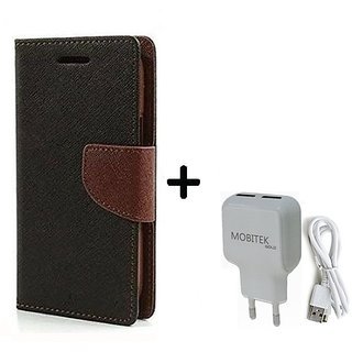 Lenovo A6000  Cover / Wallet flip for Lenovo A6000  ( BROWN ) With Fast Charger 2.4 AMP Safe Charger