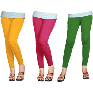 Naisargee Women's and Girl's Yellow-BabyPink-Green Silk Ankle Length Combo Leggings -(XXXL Size - Pack of 3)