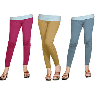 Naisargee Women's and Girl's RaniPink-Khakhi-Grey Silk Ankle Length Combo Leggings -(XXXL Size - Pack of 3)