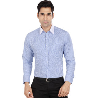 Dudlind Men's Sky Blue Checks Polyester Blend Regular Collar Slim Fit Formal Shirt