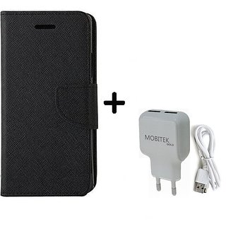Micromax Bolt Q338  Cover / Wallet flip for Micromax Bolt Q338  ( BLACK ) With Fast Charger 2.4 AMP Safe Charger