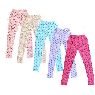 IndiWeaves Girl's Cotton Printed Leggings (Pack of 5)