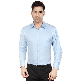 Dudlind Men's Sky Blue Plain Polyester Blend Regular Collar Slim Fit Formal Shirt
