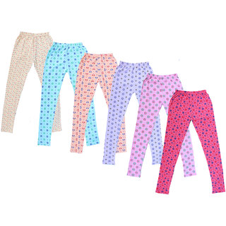 IndiWeaves Girl's Cotton Printed Leggings (Pack of 6)