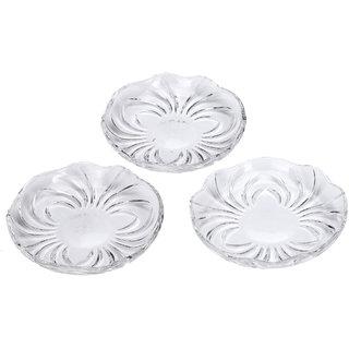 Somil Self Designer Transparent Round Glass Plate (Microwave Safe) Set Of Three -XD27