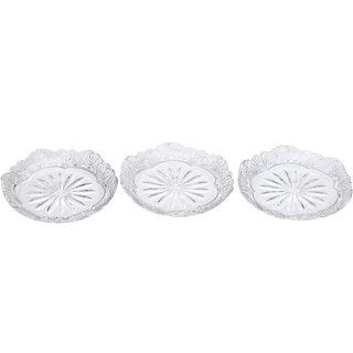 Somil Self Designer Transparent Round Glass Plate (Microwave Safe) Set Of Three -XD29