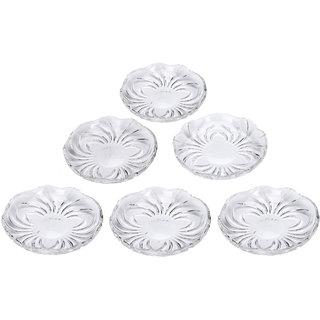Somil Self Designer Transparent Round Glass Plate (Microwave Safe) Set Of Six -XD26