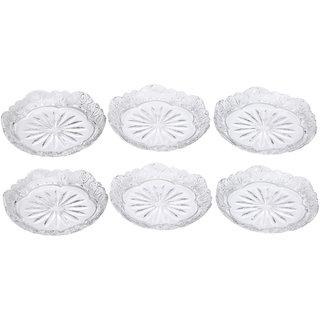 Somil Self Designer Transparent Round Glass Plate (Microwave Safe) Set Of Six -XD28