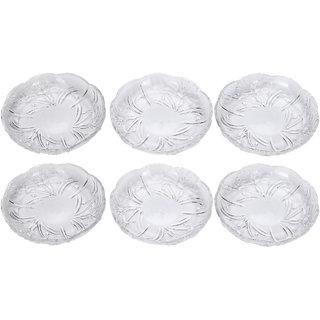 Somil Self Designer Transparent Round Glass Plate (Microwave Safe) Set Of Six -XD29