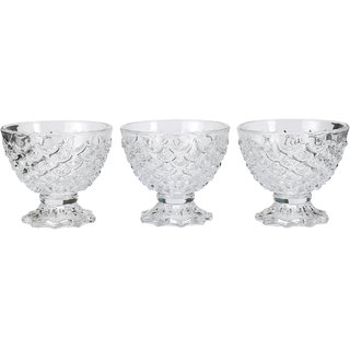 Somil Transparent Glass Ice Cream Bowl Set Of Three With Stand And Self Design -k7