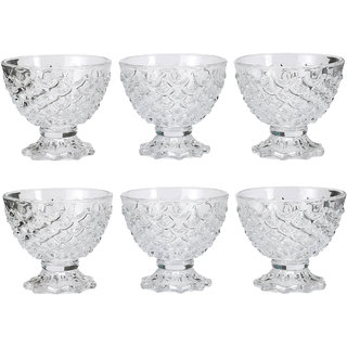 Somil Transparent Glass Ice Cream Bowl Set Of Six With Stand And Self Design -k7