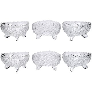 Somil Transparent Glass Serving Tableware Bowl With Stand & Self Designe (Set Of Six)-k9
