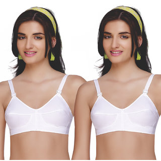 Sona Bee-Heart Cotton Full Coverage 100 % Cotton Strap Non-Stretchable Bra For Women (Pack of 2)