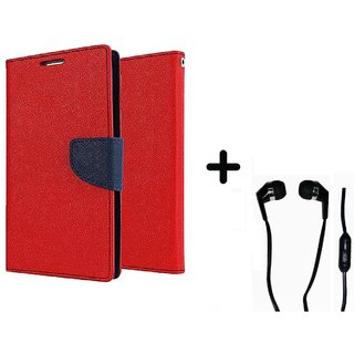 Micromax Canvas Knight A350  Cover / Wallet flip for Micromax A350  ( RED ) With Raag Earphone