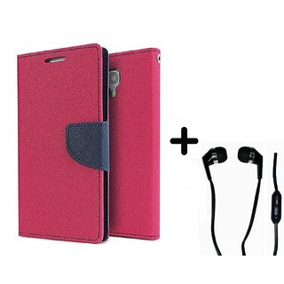 Sony Xperia SP  Cover / Wallet flip for  Xperia SP  ( PINK ) With Raag Earphone