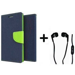 Sony Xperia T2  Cover / Wallet flip for  Xperia T2  ( BLUE ) With Raag Earphone