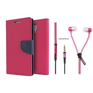 HTC Desire 616  Cover / Wallet flip for HTC 616  ( PINK ) With Zipper Earphone