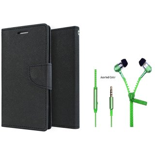 Oppo A37  Cover / Wallet flip for Oppo A37  ( BLACK ) With Zipper Earphone