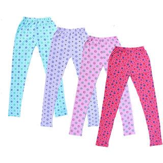 IndiWeaves Girl's Cotton Printed Leggings (Pack of 4)