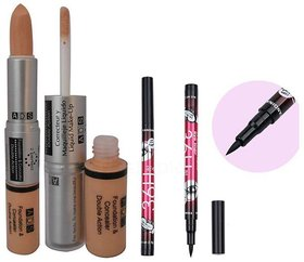 ADS Foundation And Concealer Double Action with Sketch Pen Eyeliner(pack of-2)