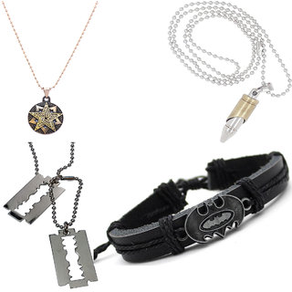 3 Pendant and 1 Bracelet Combo for Men by Sparkling Jewellery