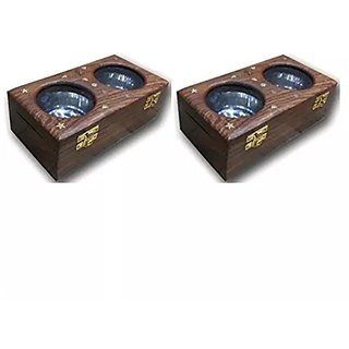 Desi Karigar Wooden Dry Fruit / Sweets / Spices Box, Pack Of 2