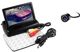 4.3 inch Folding LCD TFT Monitor Display For Car Dashboard + 8 LED Reverse Parking Camera for Cars