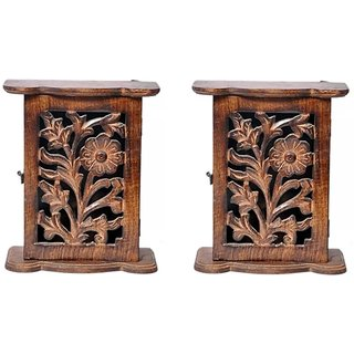Desi Karigar Almirah Wooden Key Holder Pack Of 2