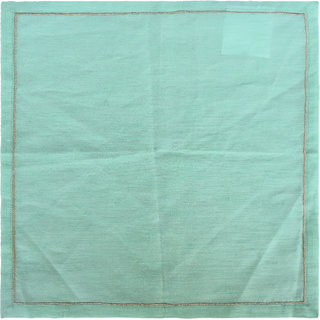H W Green Napkin with Satin Stitch Embroidery Gold Zari Thread over Poly Dupion Fabric- Set of 2 (40 X 40 Cm)