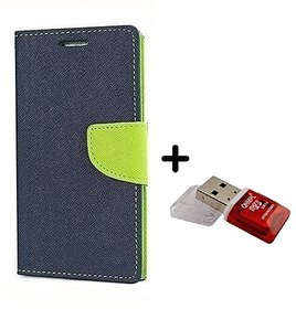 Micromax A106 Unite 2  Cover / Wallet flip for Micromax Unite 2  ( BLUE ) With With Quantum Micro SD Card Reader