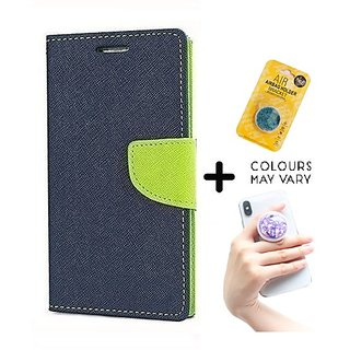 Reliance Lyf Flame 4  Cover / Wallet flip for Lyf Flame 4  ( BLUE ) With Grip Pop Holder for Smartphones