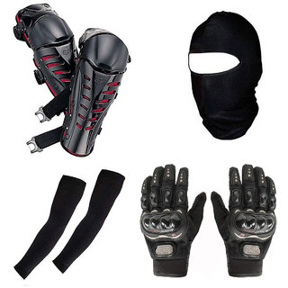 Spidy Moto 1 Face Mask, 2 Arm Sleeves, 1 Pair Gloves, 1 Pair Knee Guard Combo For Biker/Rider