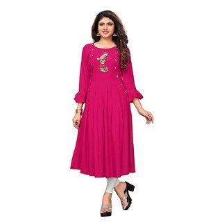 Vaikunth Fabrics Kurti In Pink And Rayon Fabric For Womens VF-KU-213