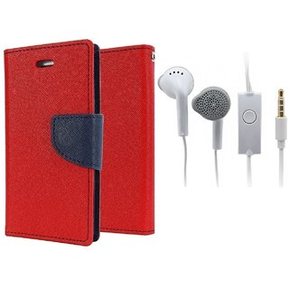 Huawei Honor 5X  Cover / Wallet flip for Honor 5X  ( RED ) With Earphone(SAM)